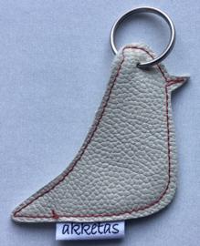 Sleutelhanger vogel, leer, 7,5 cm.