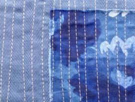 Groooote tas met speciale bovensluiting, 51x49cm, upcycling spijkerbroek.