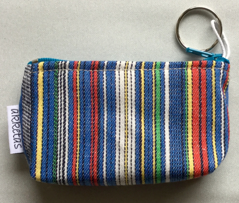 Portemonnee met sleutelring, katoen, 13x8cm