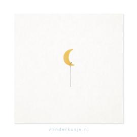 Poster kaart 'Gouden maan' ~ met goudinkt / 19x19 cm