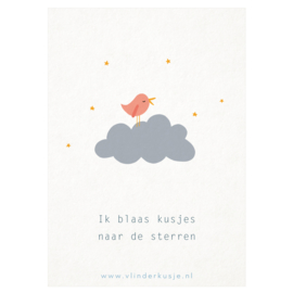 Luxe ansichtkaart 'Kusjes naar de sterren'