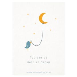 Luxe ansichtkaart 'Tot de maan en terug'