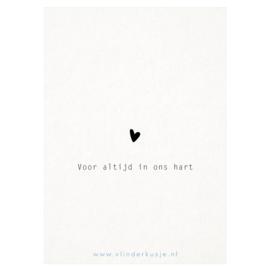 Luxe ansichtkaart 'Voor altijd in ons hart'