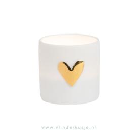 Waxinelichtje hart / goud