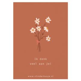Luxe ansichtkaart 'Ik denk veel aan je!' ✿