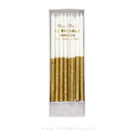 Gouden glitter kaarsjes 'Meri Meri'