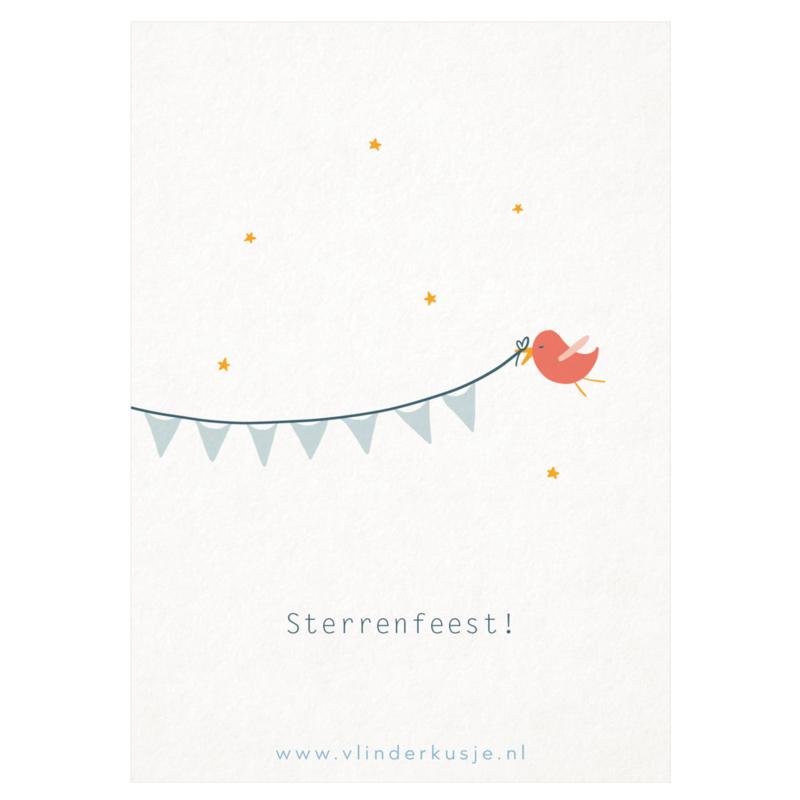 Luxe ansichtkaart 'Sterrenfeest!'