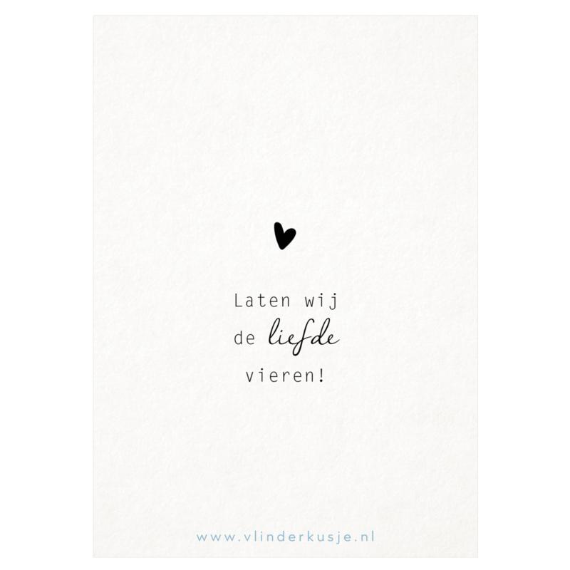 Luxe ansichtkaart 'Liefde vieren'