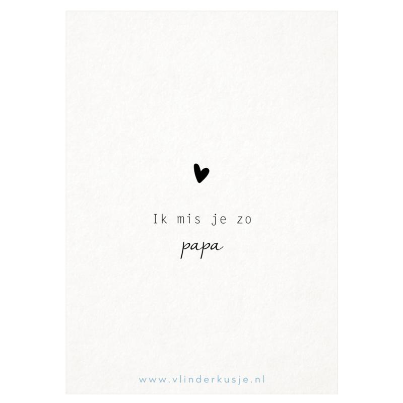 Luxe ansichtkaart 'Ik mis je papa'
