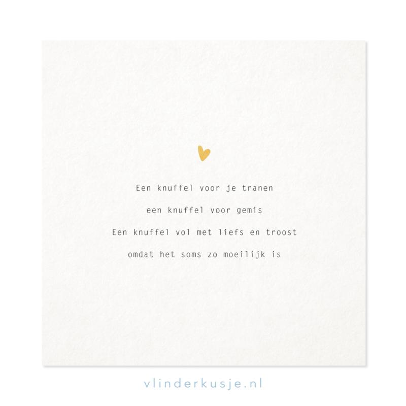 Poster kaart 'Knuffel' ~ met goudinkt / 19x19 cm
