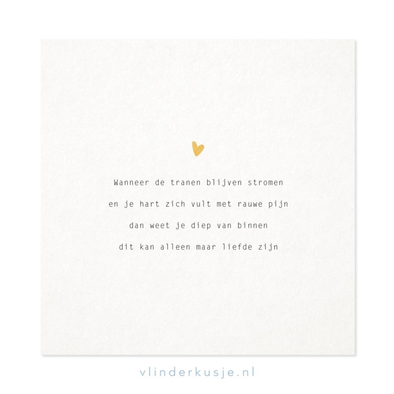 Poster kaart 'Tranen' ~ met goudinkt / 19x19 cm