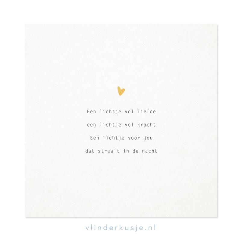 Poster kaart 'Lichtje vol liefde' ~ met goudinkt / 19x19 cm