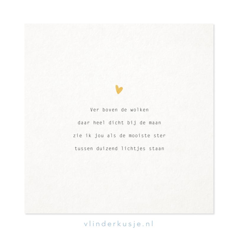 Poster kaart 'Mooiste ster' ~ met goudinkt / 19x19 cm