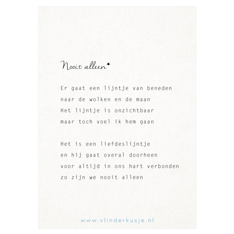 Luxe ansichtkaart 'Nooit alleen'