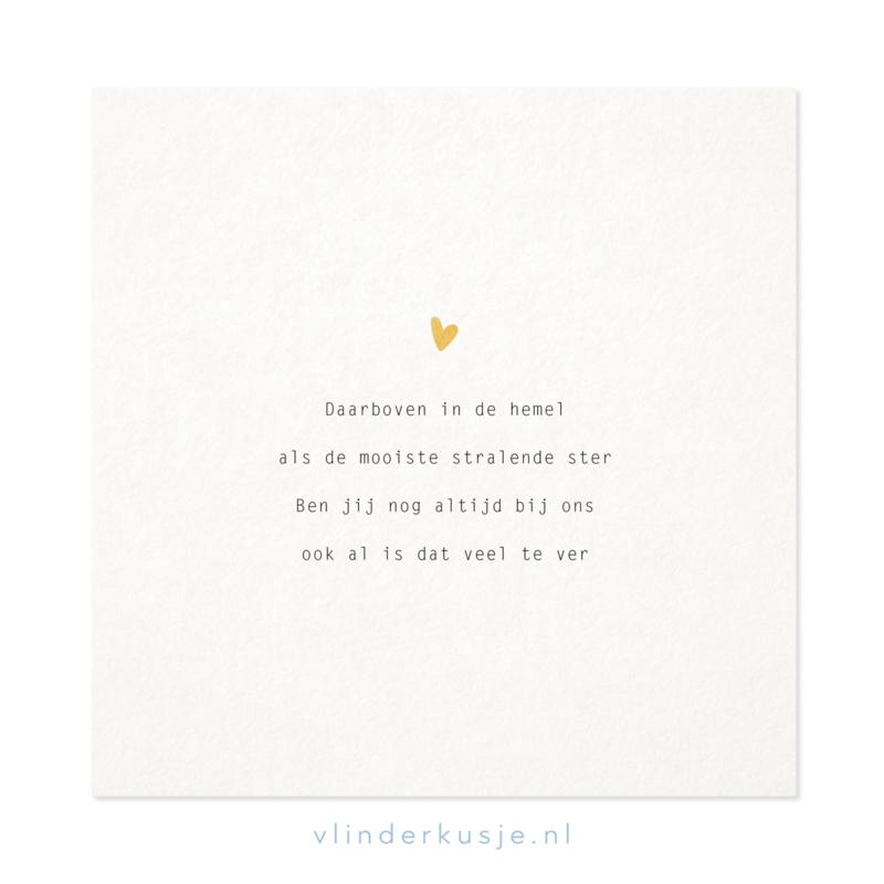 Poster kaart 'Boven in de hemel' ~ met goudinkt / 19x19 cm