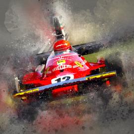 Niki Lauda in een Ferrari 312T (1975)