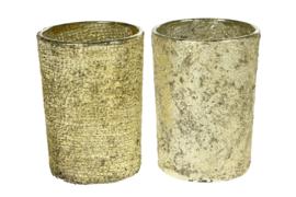 Waxinelichthouder goud glas assorti
