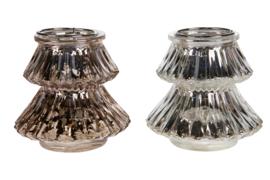 Waxinelichthouder boom glas assorti
