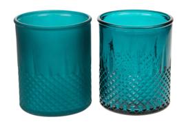 Waxinelichthouder blauw gerecycled glas assorti