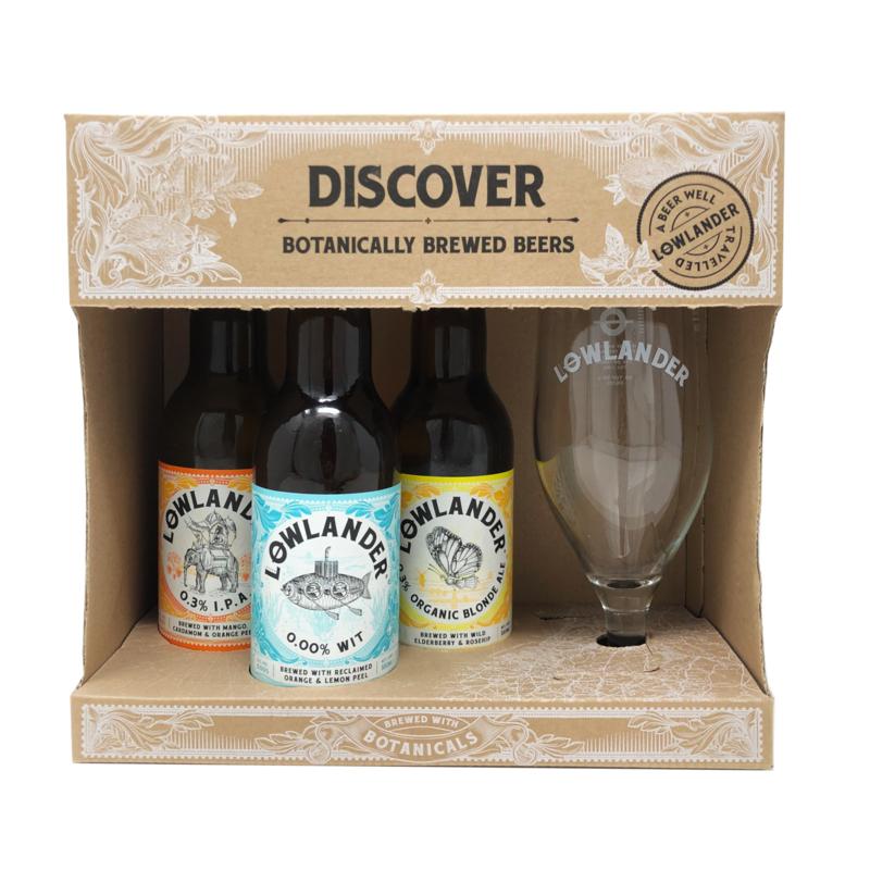 Lowlander Giftpack 3 flesjes 0.0% & glas