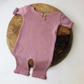"Newborn Onesie - Knitted Collection ""Baby"" - Old Pink"