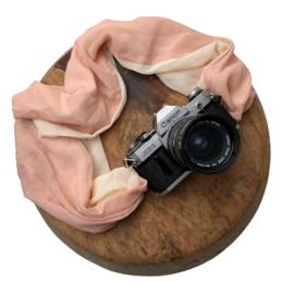 Camera Strap - Old Rose Ecru- Camel/Black Leather