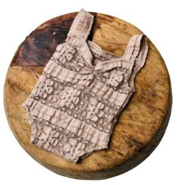 Newborn Romper - Lace Collection - Taupe vintage