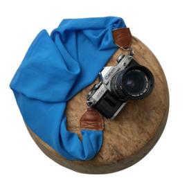 Camera Strap - Bleu- Camel leather