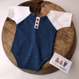 Newborn Romper  - Jeans Blue / white