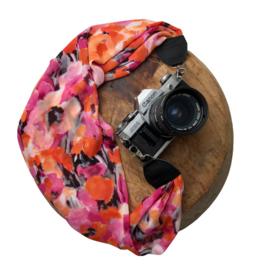 Camera Strap - Print - Black leather