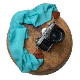 Camera Strap - Aqua- Camel leather