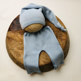 Newborn - Luxery Collection Pants & Hat  -light blue