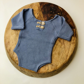 """Newborn Romper - Knitted Collection """"Baby"""" - Old Blue"""