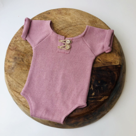 """Newborn Romper - Knitted Collection """"Baby"""" - Old Pink"""