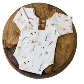 Newborn Romper - Flower Collection - BOHO cognac
