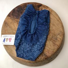 Newborn Romper - Jeans Blue lace