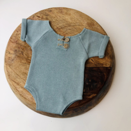 """Newborn Romper - Knitted Collection """"Baby"""" - Old Mint"""