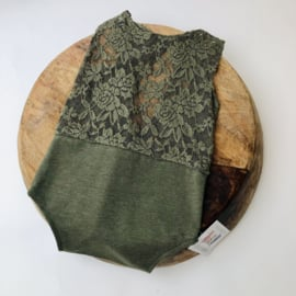 Romper - Moss green lace- Size 80