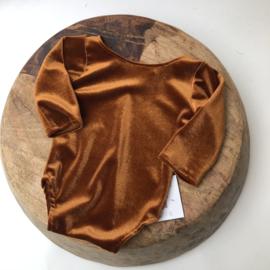 Newborn Romper velvet - Camel