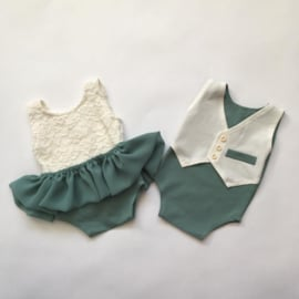 TWIN set Rompers met los rokje Newborn