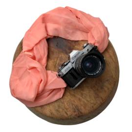 Camera Strap - Rose- Camel/Black Leather