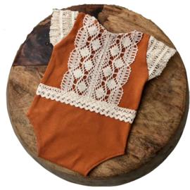 Newborn Romper - April Collection - Cognac lace