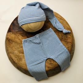 Newborn - Pants & Hat  -  stripe blue