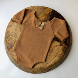 """Newborn Romper - Knitted Collection """"Baby"""" - Camel"""