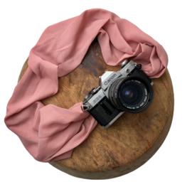 Camera Strap - Old Rose- Camel/Black Leather