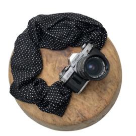 Camera Strap - Print - Camel/Black Leather