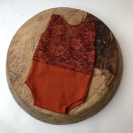 Newborn - Romper stretch - Brick lace