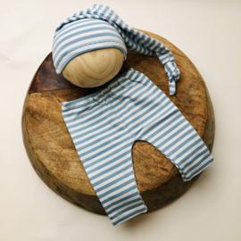 Newborn - Pants & Hat  -  stripe mint
