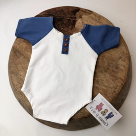 Newborn Romper  -  blue / white