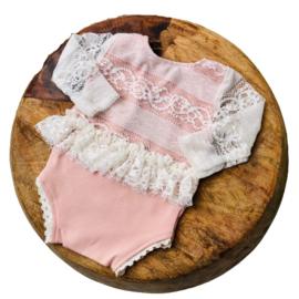 Newborn Romper - April Collection - rose lace